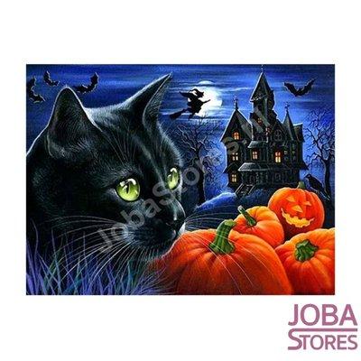 Diamond Painting Halloween Kat 30x40cm