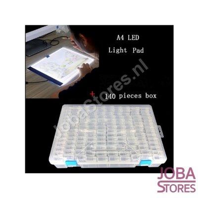 Diamond Painting Sortierbox 140 Steckplätze TicTac-Stil + A4 Lightpad