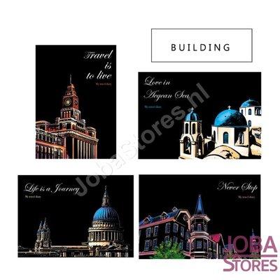 Kratzzeichnungen Set Gebäude 29x21cm (4 Stück)