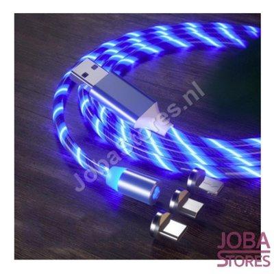 USB-Kabel magnetisch mit Beleuchtung und 3 Steckern (blau)