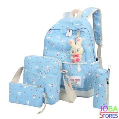 OP=OP Schooltassen Set Bunny Licht Blauw (5-delig)