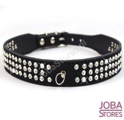 Honden Halsband Bling Zwart L