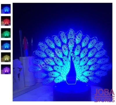 3D Illusie Lamp Pauw (7 kleuren instelbaar)