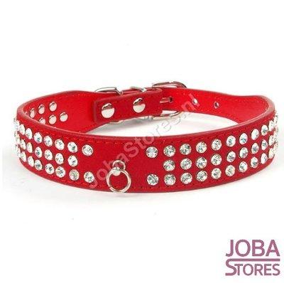 Honden Halsband Bling Rood L