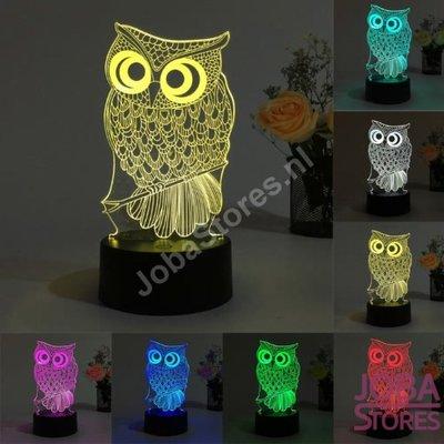 3D Illusie Lamp Uil 001 (7 kleuren instelbaar)