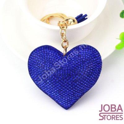 Bling Sleutelhanger Hart Blauw