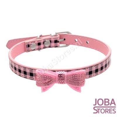 Honden Halsband Ruitjes met strik Roze S