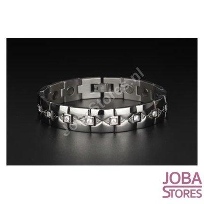 Magnetische Heren Armband Bling incl. tool en geschenkdoos (Zilver - 21,5cm)
