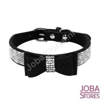Honden/Katten Halsband Bling met strik Zwart (M)