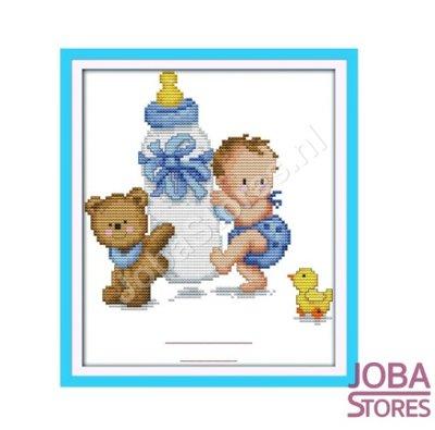 Borduur Pakket Baby Blauw 11CT Voorbedrukt (26x32cm)